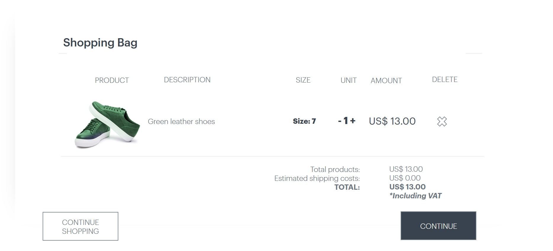 Shopping cart with green leather shoes, presenting size, price and estimted shipping costs