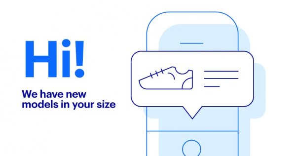 Personalized message about the new product with a picture of the mobile phone screen and a text message with a picture of the shoe.