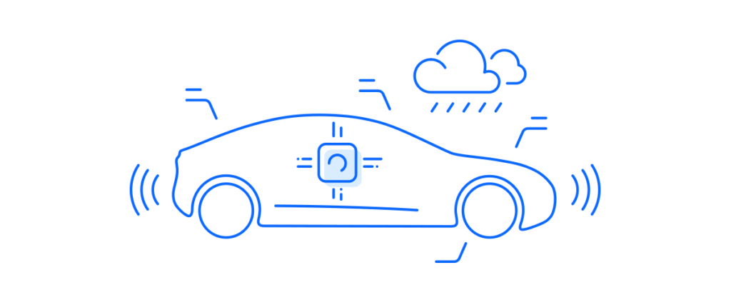 Car symbolizing artificial intelligence automotive solution highlighting machine learning in action using neural network technology.