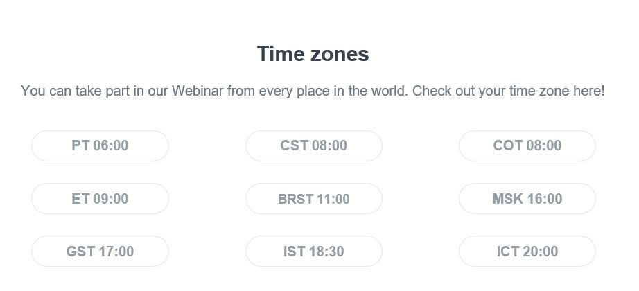 Webinar list of time zones used in our mailings