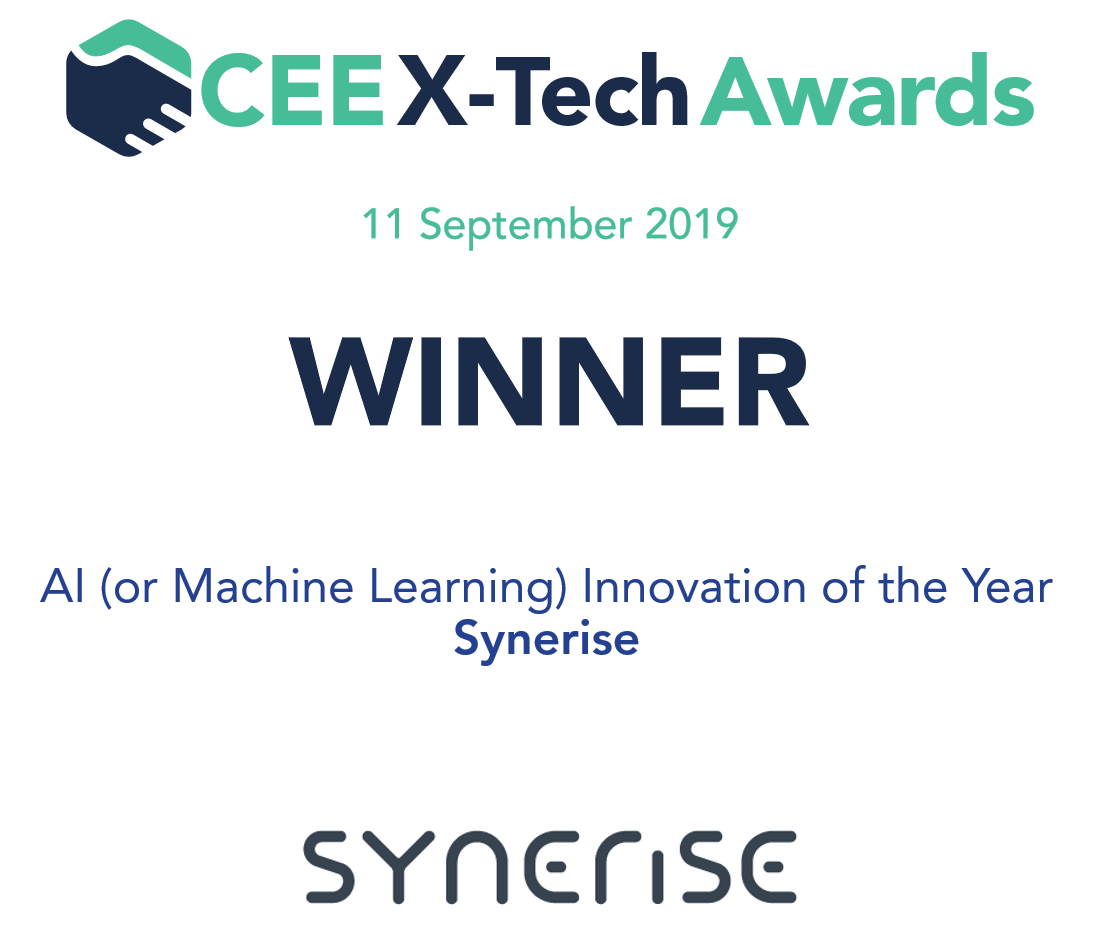 Synerise as a CEE X-Tech Award winner