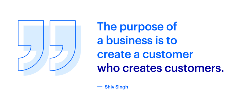A written quote from Shiv Singh about the purpose of a business is to create a customer who creates more customers.