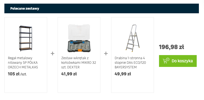 Recommended set, consisting of a metal rack, a set of screwdrivers and a ladder, along with a price summary