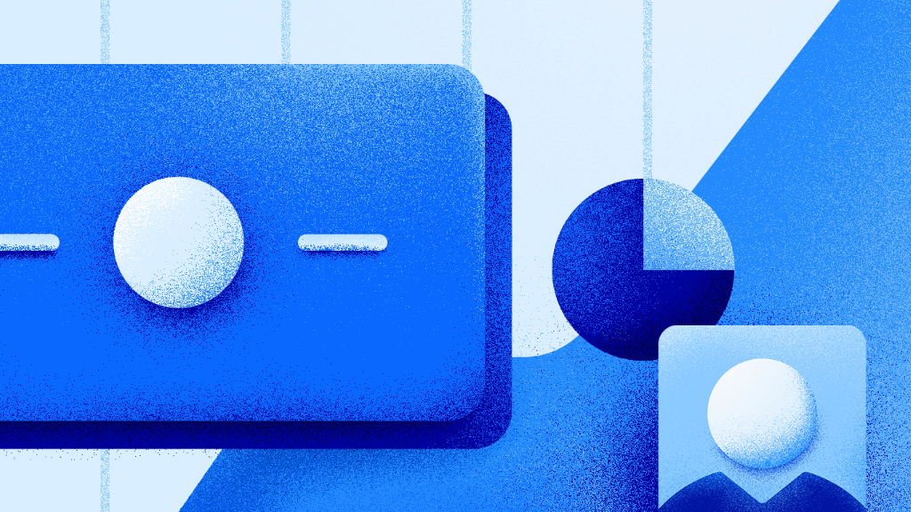 Blue squares, charts and client icon