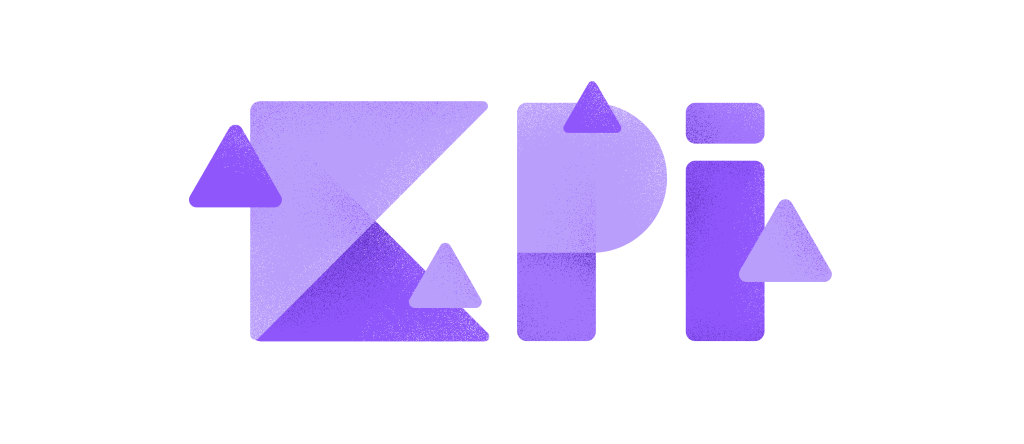 Violet KPI icon from squares and triangles