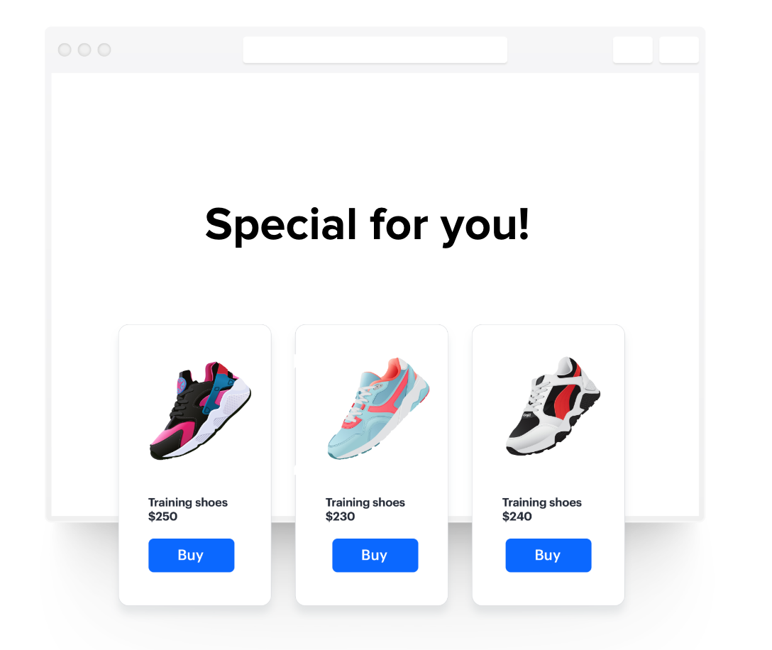 Personalzied landing page with offers personalized for each customer