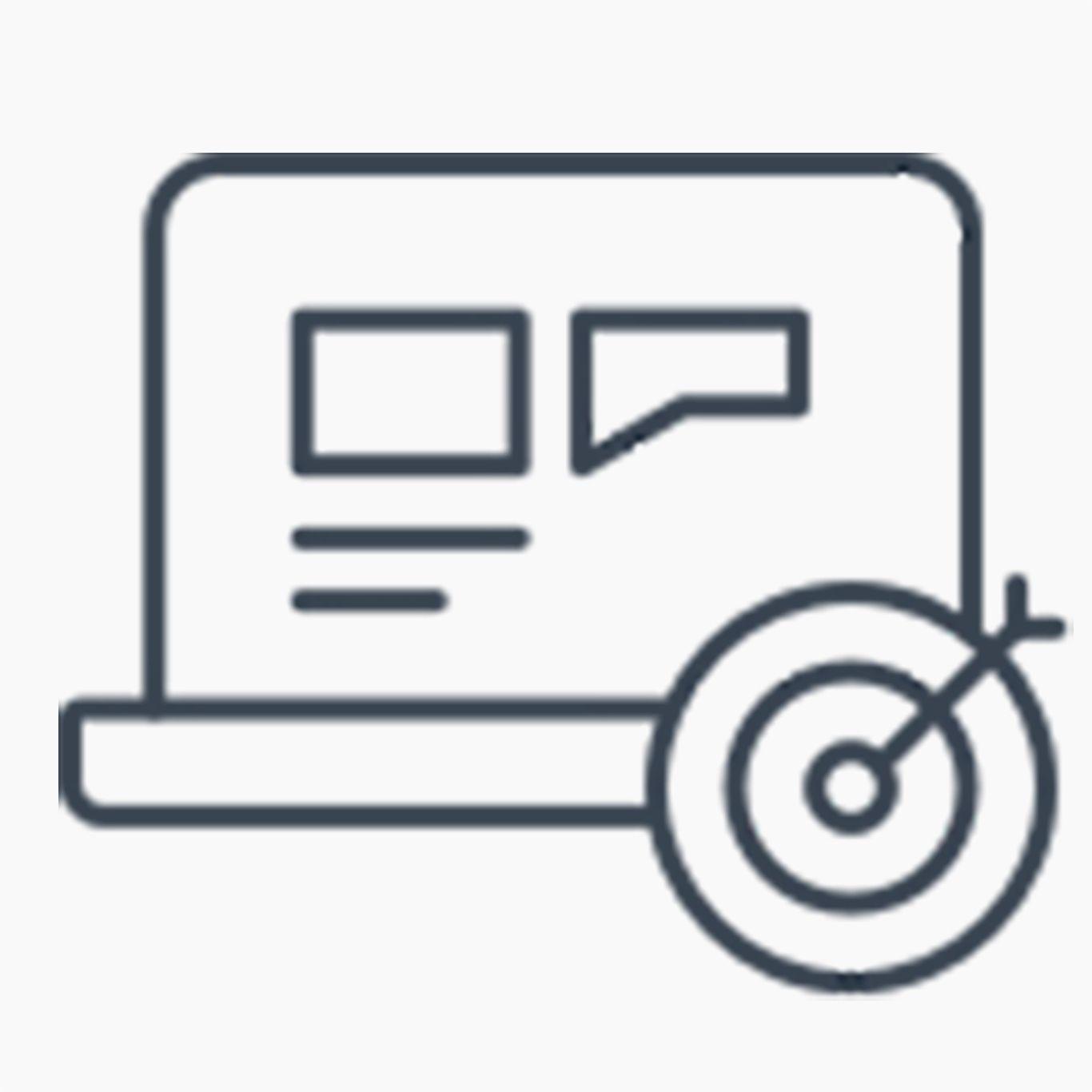 Laptop icon with bull's eye symbol