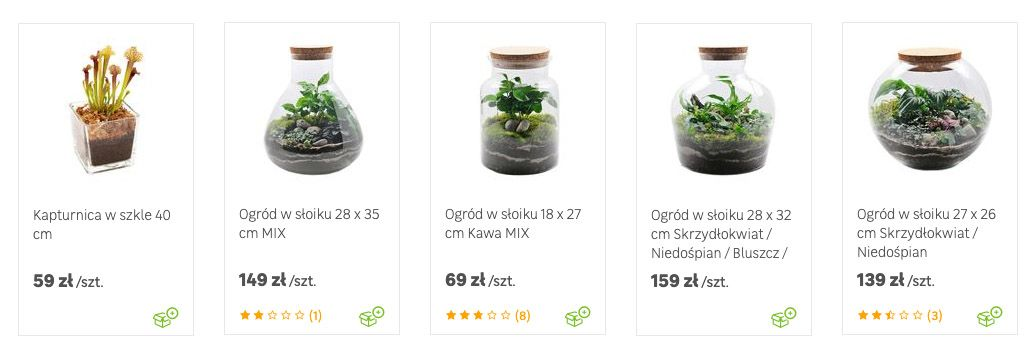 Offers of several types of forest in a jar