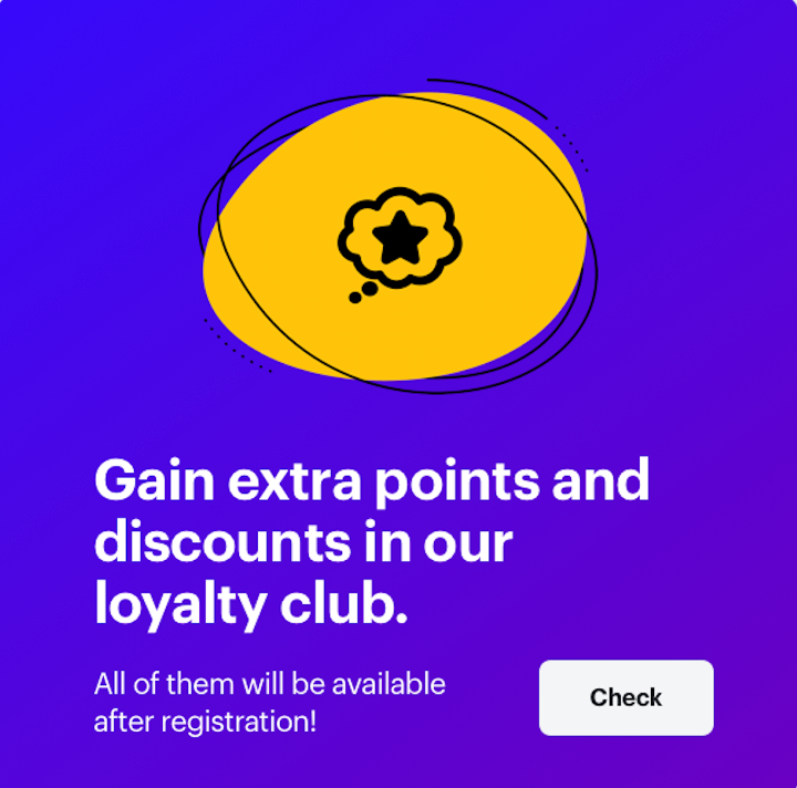 Discount banner for mobile encouraging to joingin the loyalty club