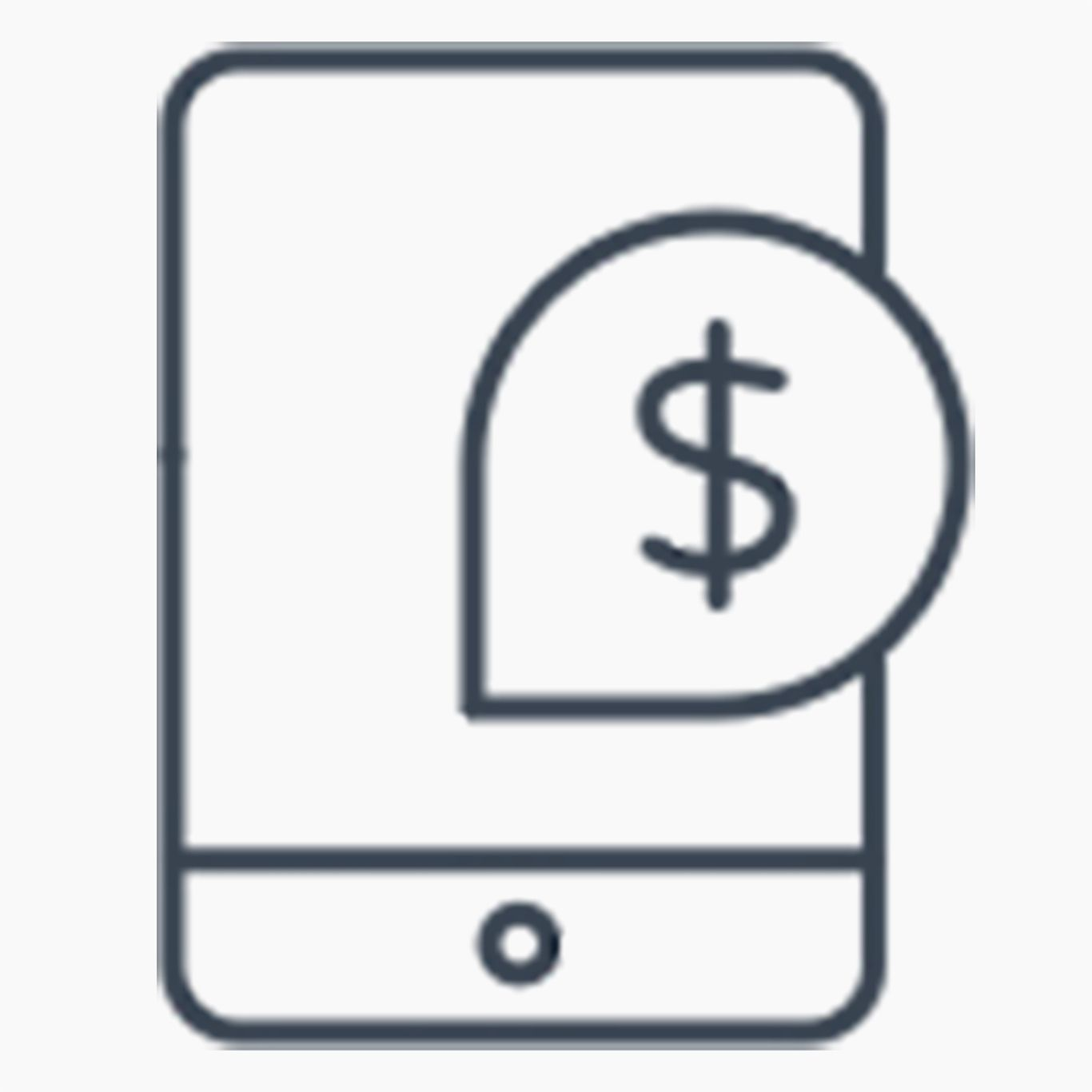 Mobile icon with dollar symbol