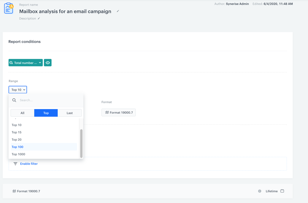 Report presenting mailbox analysis for an email campaign
