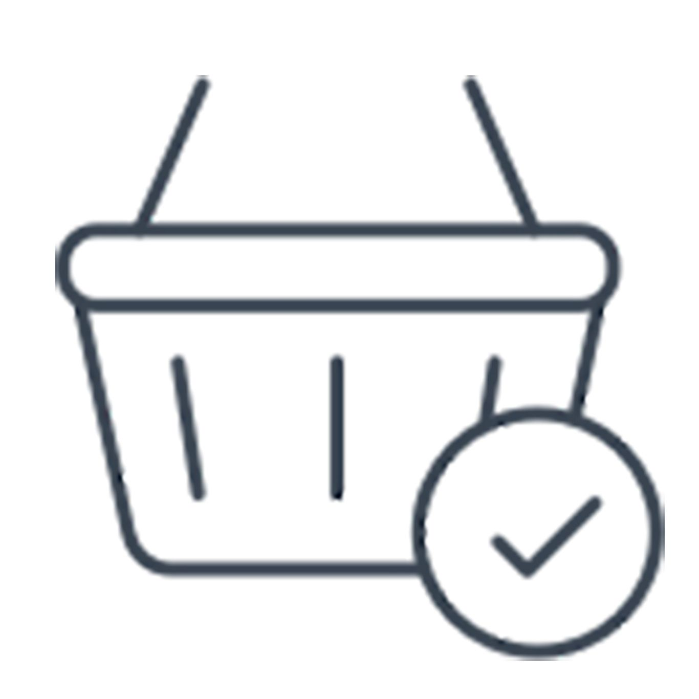Shopping cart symbol with check button