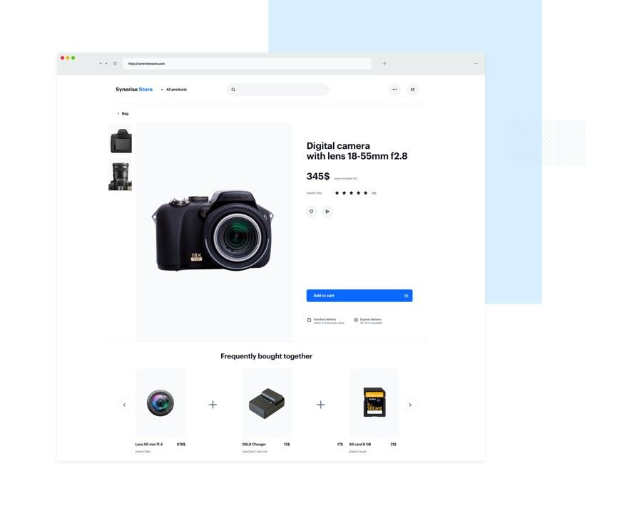 Product page with section frequently bought together