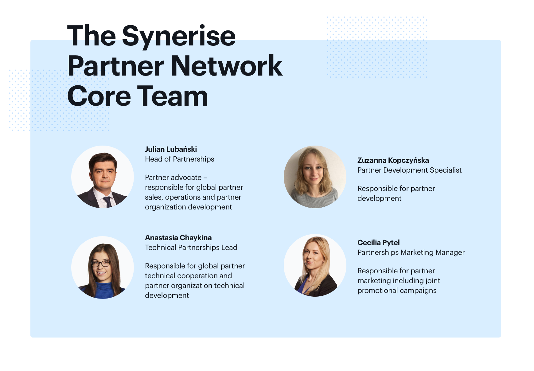 The Synerise Partner Network Core Team photo: Julian Lubański, Zuzanna Kopczyńska, Anastasia Chaykina, Cecilia Pytel